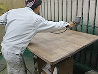 ポリエステルorウレタンサンディング塗料の塗布