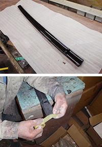 鞘の塗装方法その1:マスキング